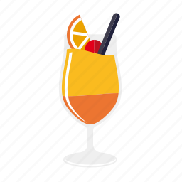 alcohol, beverage, cocktail, drink, glass, orange, tequila sunrise icon