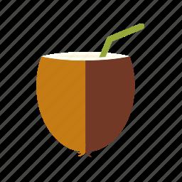 beverage, coconut, drink, milk, straw icon