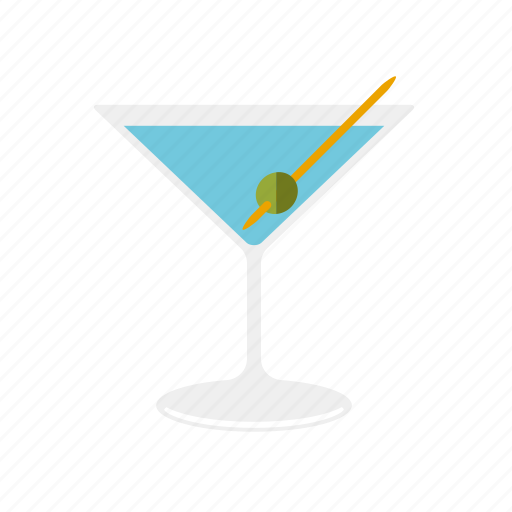 alcohol, beverage, cocktail, drink, dry martini, glass, olive icon