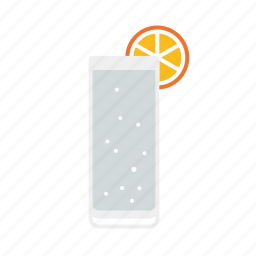 alcohol, beverage, drink, gin tonic, glass, lemon, soda icon