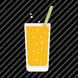 beverage, drink, glass, lemonade, orange, straw icon