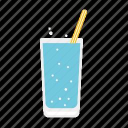 beverage, drink, glass, soda, straw, water icon