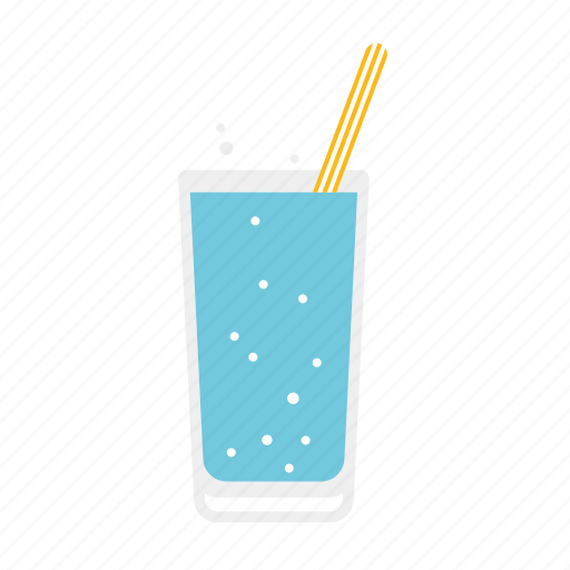 beverage, drink, glass, soda, straw, water icon