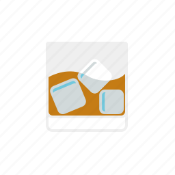 alcohol, beverage, drink, glass, icecubes, tumbler, whiskey icon