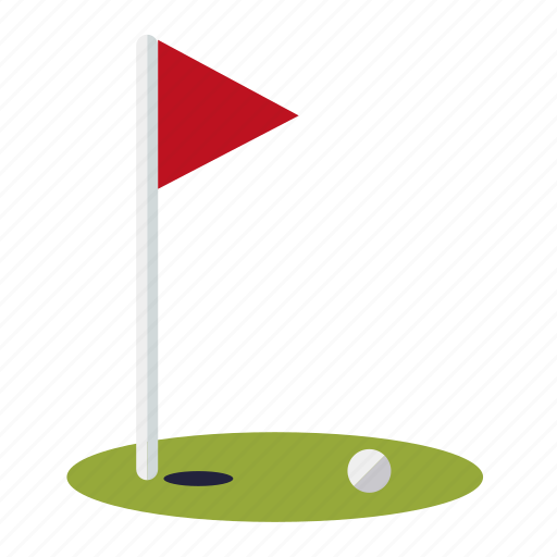 ball, flag, golf, green, hole, lawn, sports icon