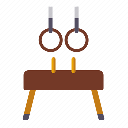 equipment, gymnastics, pommel horse, rings, sports icon