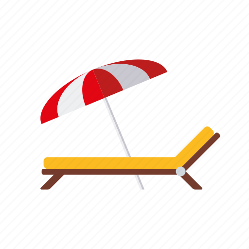 beach, deckchair, parasol, sunbed, sunshade, travel, vacations icon