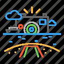 beach, camera, colour, design, line, sea, ship icon