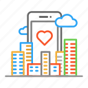 city, cloud, colour, design, line, phone icon