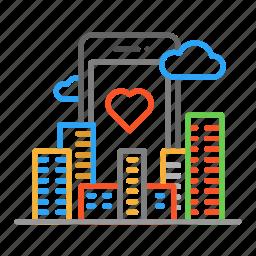 city, cloud, colour, design, line, phone icon