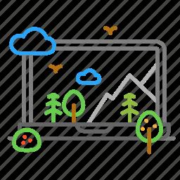 colour, design, forest, laptop, line, mountain icon