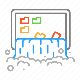 colour, design, folder, line, screen, water, waterfall icon