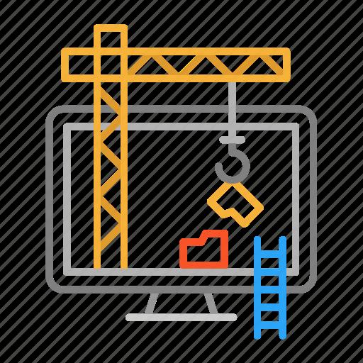 colour, construction, crane, design, folder, line, pc icon