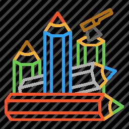 axe, colour, design, firewood, line, pencil icon