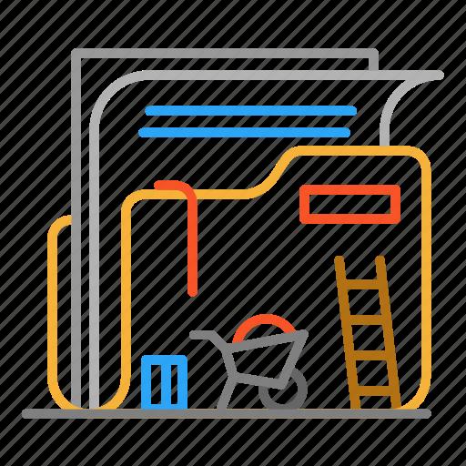 colour, construction, design, folder, line, paper icon