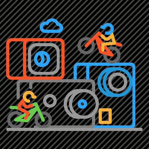 action, bike, cam, colour, design, gopro, line icon