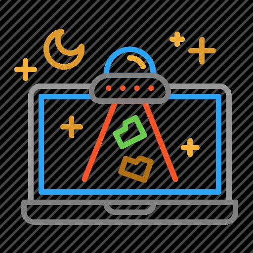 colour, design, folder, laptop, line, space, ufo icon