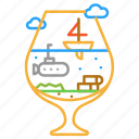 colour, design, line, submarine, wineglass icon