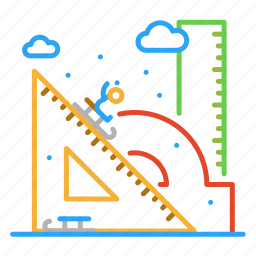 colour, design, line, ruler, sled, snow, winter icon