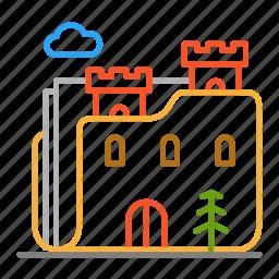 castle, colour, design, folder, line, tower icon