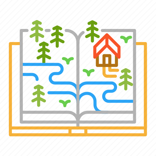 book, colour, design, forest, house, line icon