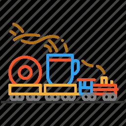 coffee, colour, design, donut, line, train icon