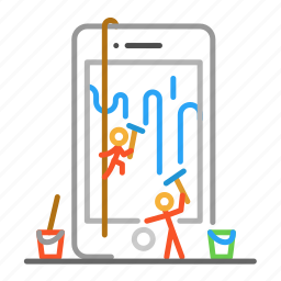 cleaner, colour, design, line, phone icon