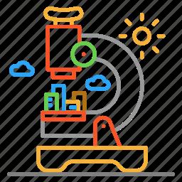 colour, design, line, micro, microscope, sun icon