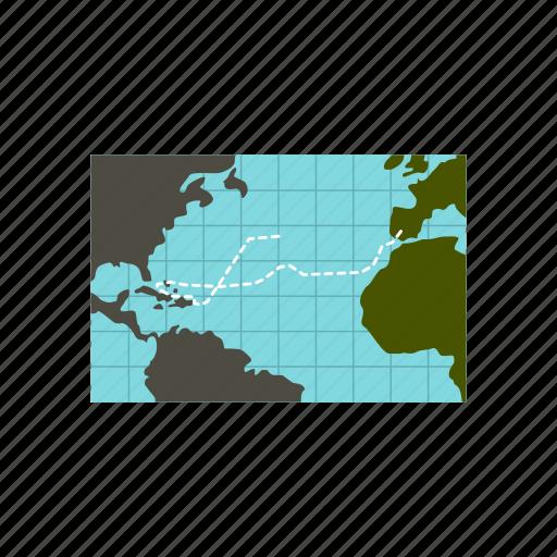 america, map, navigation, ocean, sea, travel, water icon