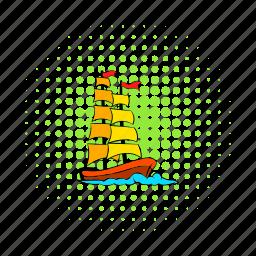comics, ocean, sail, sea, ship, travel, vessel icon