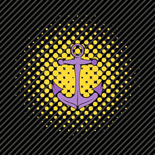 anchor, comics, marine, metal, nautical, old, vintage icon
