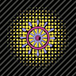boat, comics, direction, rudder, ship, vessel, wheel icon