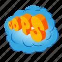 balloon, bubble, cartoon, comic, isometric, ops, speech
