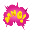 bang, boom, bubble, cartoon, comic, isometric, speech
