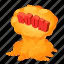 boom, bubble, cartoon, comic, isometric, speech, wow