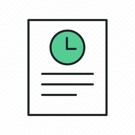 allotted timw, attendance, audit, doc, draft, estimation, log, logging, period, periodicity, postpone, report, sheet, time, timecard, timeframe, timesheet icon