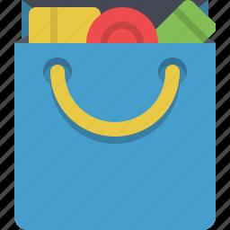 bag, buy, full, groceries, shopping, shopping bag icon