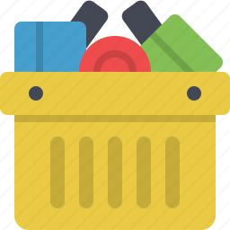 basket, cart, ecommerce, full, groceries, shopping, shopping cart icon