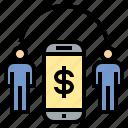 connect, money, online, smartphone, transfer