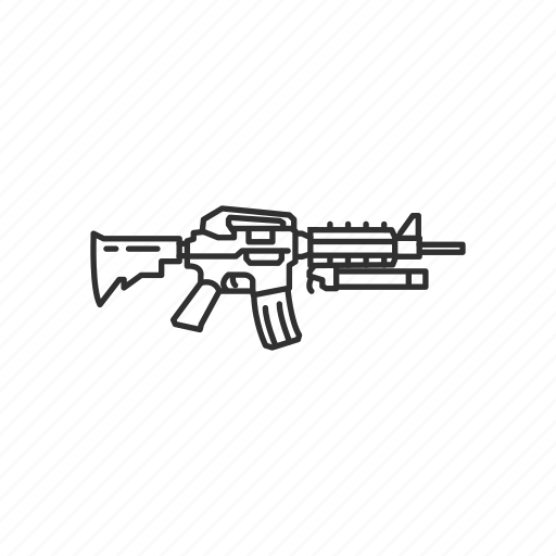 assault rifle, automatic, firearms, gun, m4 carbine, military, weapons icon