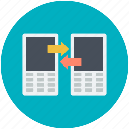 data exchanging, data sharing, mobile phone, sharing, wireless sharing icon