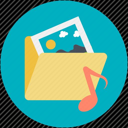 folder, media, multimedia folder, music folder, photos folder icon