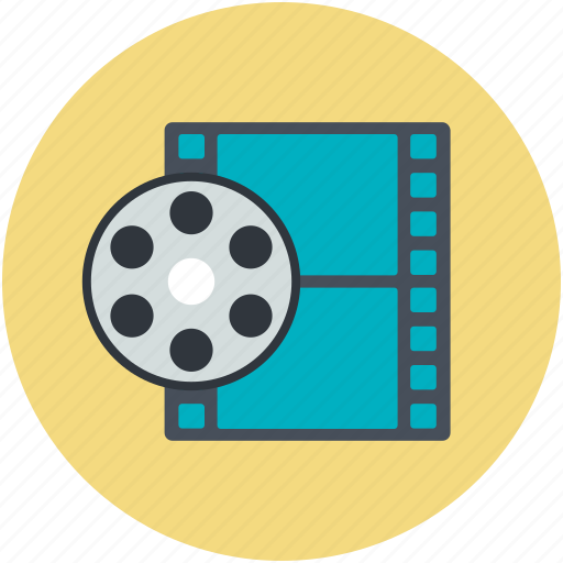 camera reel, film reel, image reel, movie reel, reel box icon