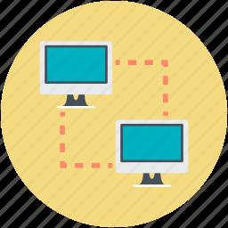 data exchanging, data sharing, data transfer, monitor, sharing icon