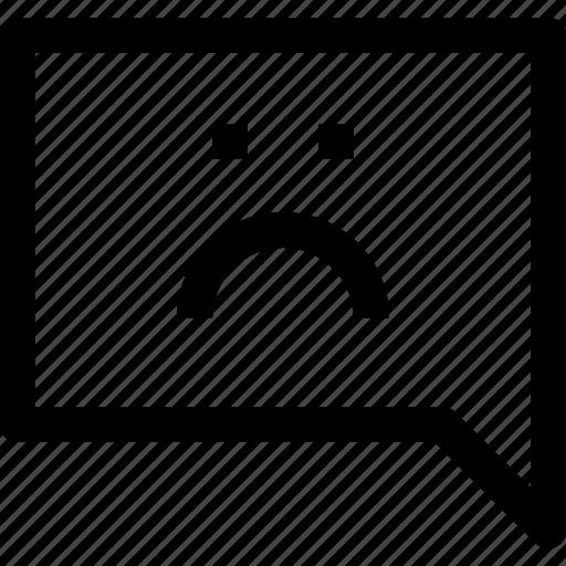 bubble, communication, sad, speech, talk icon