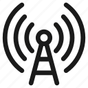 communication, connection, internet, mobile, network, signal, tower icon