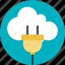 cloud connection, cloud computing, power cord, cloud network, internet hub