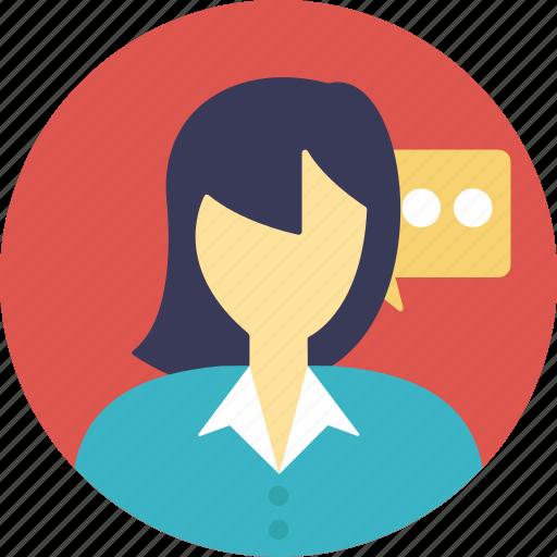 discussion, female consultant, speech, talk, talking girl icon