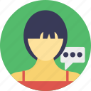 discussion, female consultant, speech, talk, talking girl icon