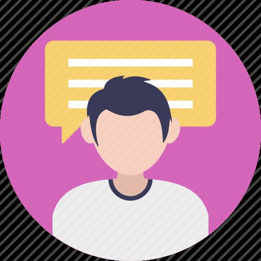 discussion, male consultant, speech, talk, talking person icon